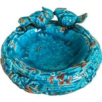 Teal Ceramic Bird Bath