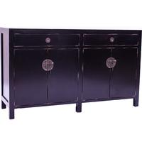 Black Mahogany Oriental Sideboard - 4 Door x 2 Drawer