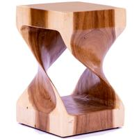 Hand Carved Twisted Stool/Occasional Table - Light