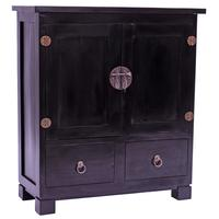 Black Mahogany Oriental Sideboard - 2 Door