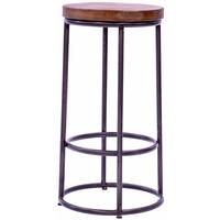 Industrial Wrought Iron Round Top Bar Stool