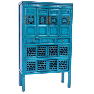 Tall Filigree Multi-Drawer Cabinet.in Teal