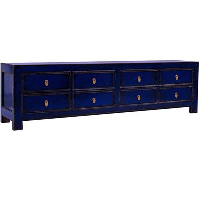Royal Blue 8 Drawer TV Stand / Low Storage Unit