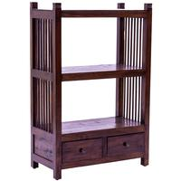 Slat Side 2 Drawer Teak Bookcase