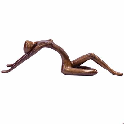 Polished Bronze Reclining Lady Figurine