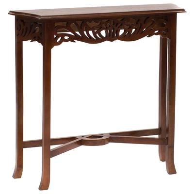 Narrow Hand Carved Filligree Console in mahogany