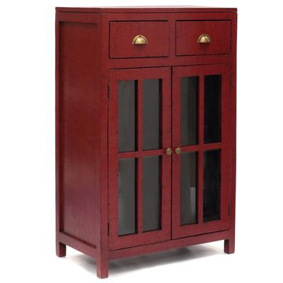 2 Glass Door, 2 Drawer Storage Cabinet in Red