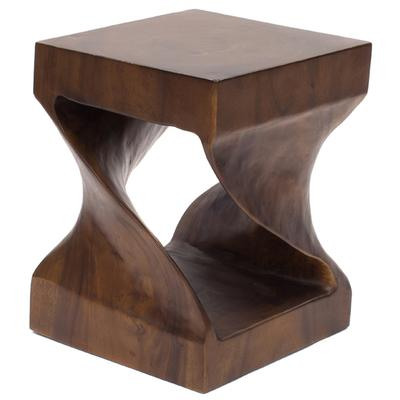Hand Carved Twisted Stool/Occasional Table - Dark