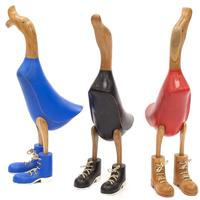 Painted Ducks with Boots - Crafted from Timber