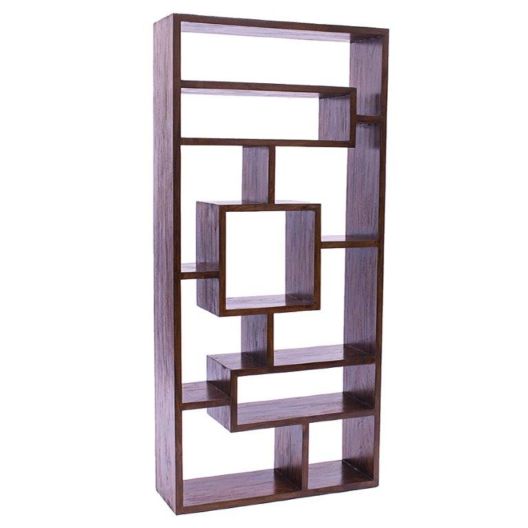 JAVA This Abstract Bookcase Is From Our Rustic Teak Range Artistic In Its Design Piece