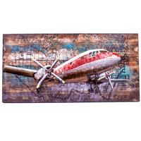 3D Metal on Timber Wall Art - Aeroplane