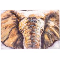 3D Metal on Timber Wall Art - Elephant