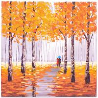 Brushed Aluminium Wall Art - Autumn Walk